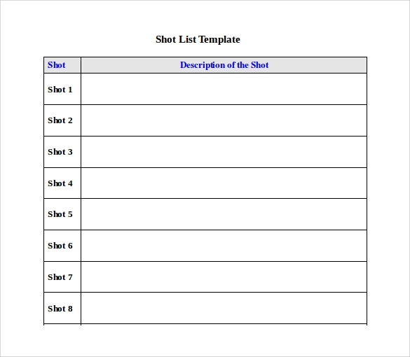 sample shot list