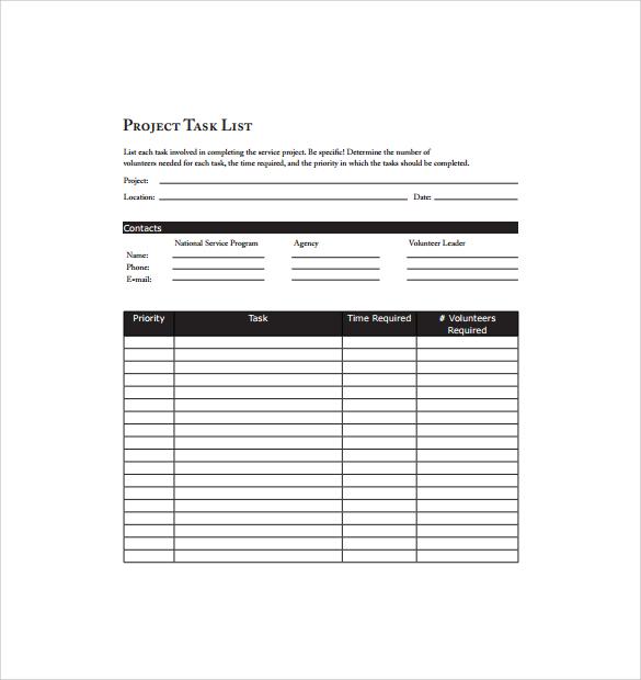 sample task list