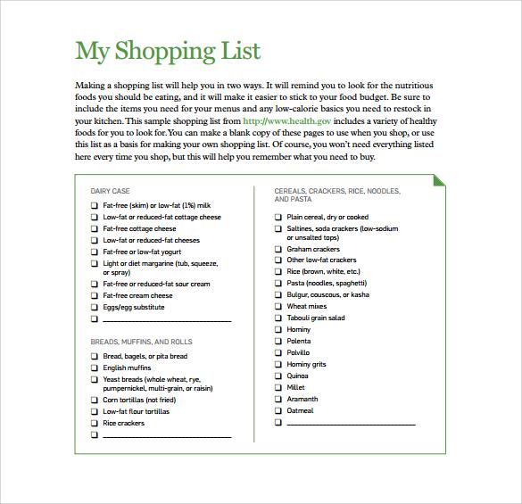 printable sample list