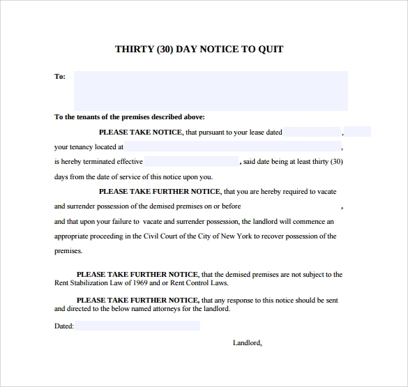 Sample 30 Day Notice Template 8 Free Documents in PDF Word – 30 Day Notice Template