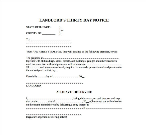 Sample  Day Notice Template   Free Documents In Pdf Word