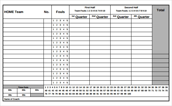 Basketball Score Sheet Template Excel
