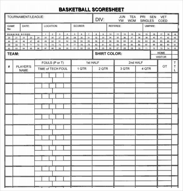 Sample Basketball Score Sheet - 9+ Documents in PDF, Word, Excel