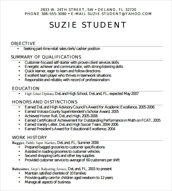 simple resume for high school student