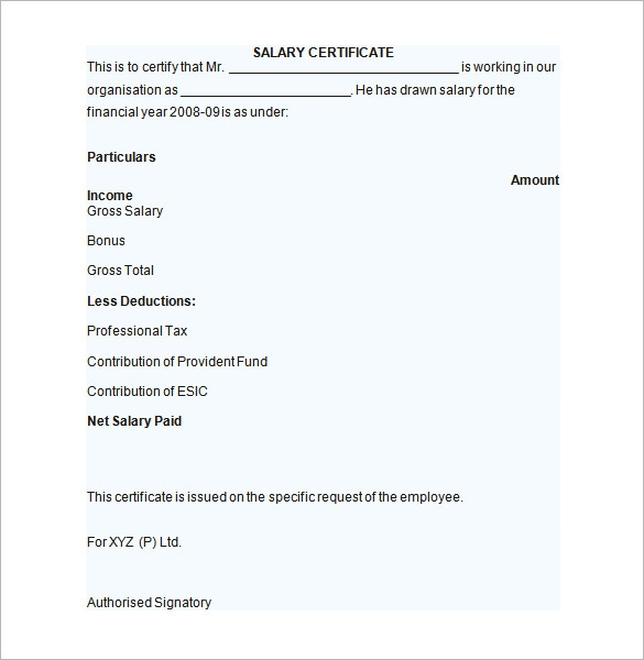 Sample Salary Certificate Template   Documents In Pdf Word