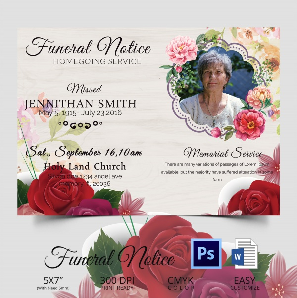 printable funeral notice template