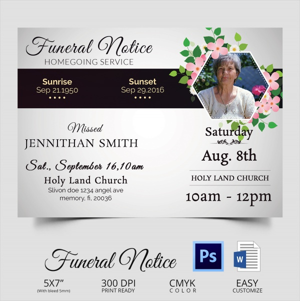 14 funeral notices psd vector eps