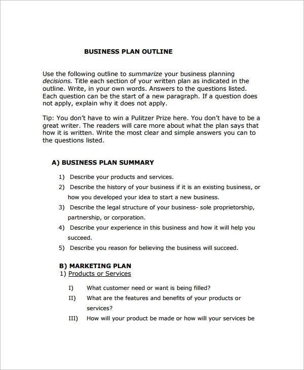 startup business plan outline