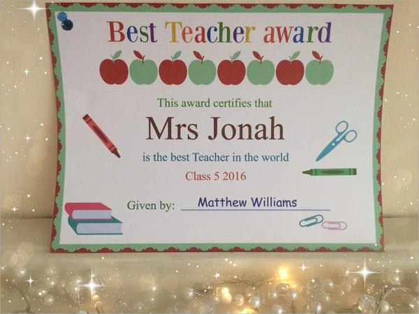 award template for teacher
