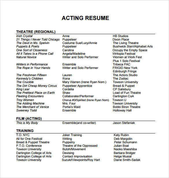 91+ Sample Entertainment Resume - Acting Resume Template For Free ...