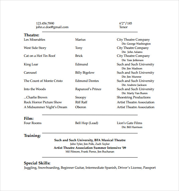 Acting Resume Template Film Acting Resume In Ms Word Free Download