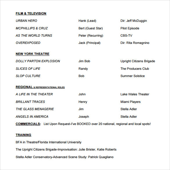 20 Useful Sample Acting Resume Templates to Download | Sample Templates