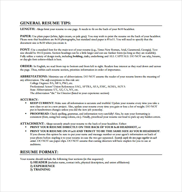 guidelines for acting resume template