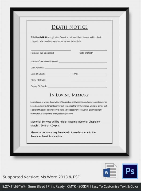 sample death notice