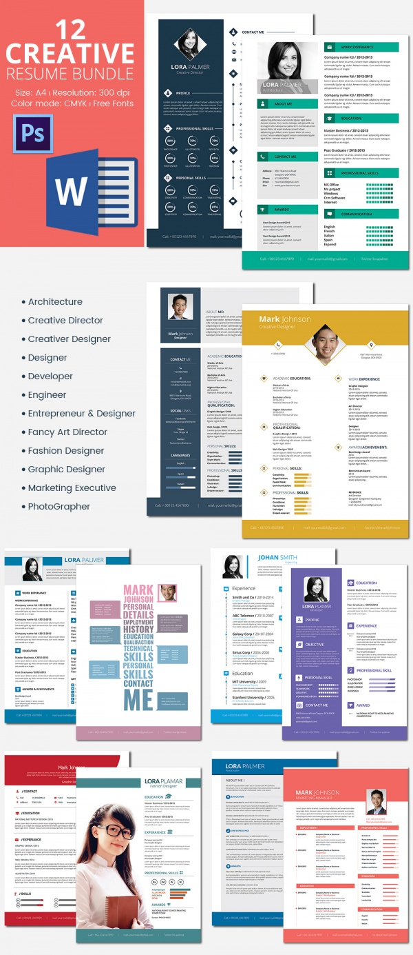 12 resume templates bundle for 25