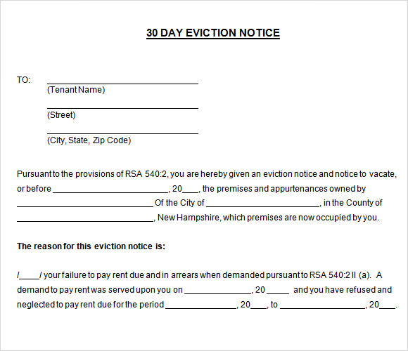 Sample 30 Day Notice Template 10 Free Documents in PDF Word – 30 Eviction Notice Form