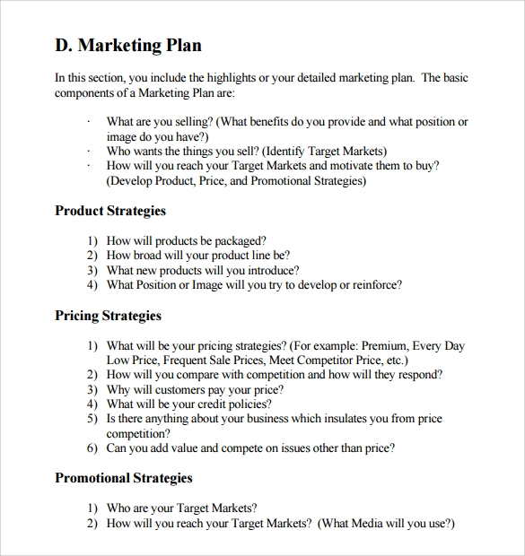 Sample Business Plan Outline Template Kikyous - Marketing plan for small business template