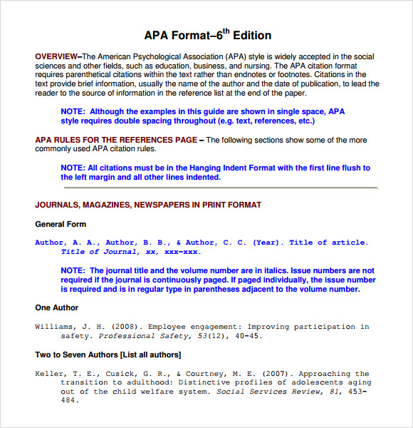apa format for bibliography
