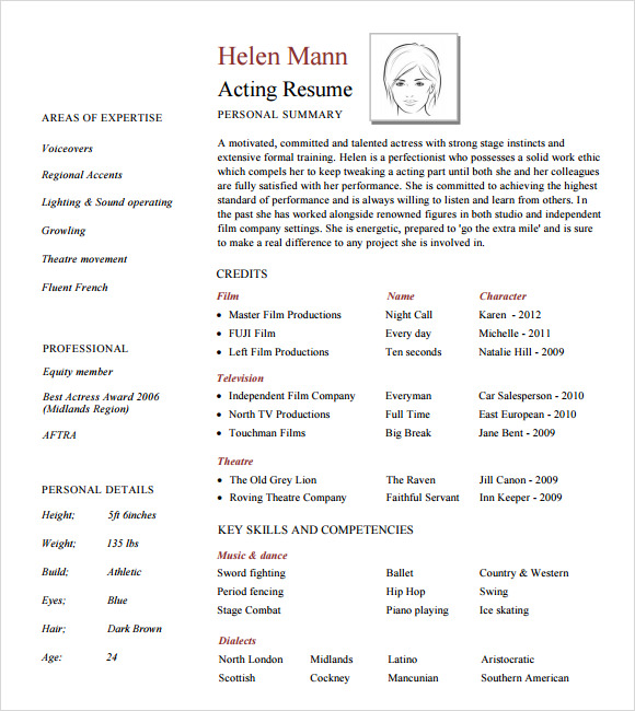 Acting Resume Layout  Actor Resume Template Word