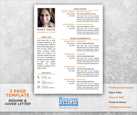 Acting Resume Template  WowcircleTk