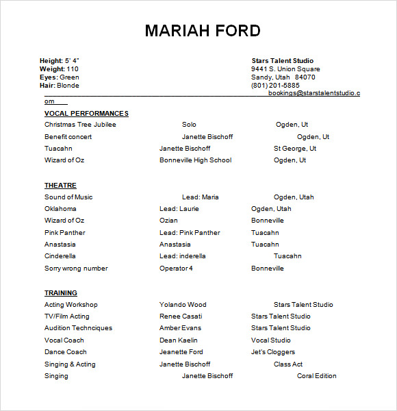 acting resume template doc