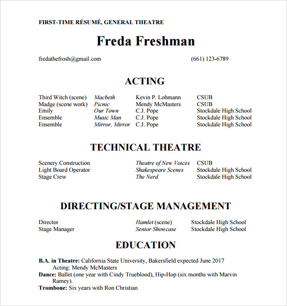 Film Resume Template. Film Resume Sample Samples Database