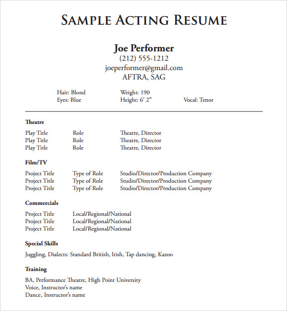 acting sample resume - Sample Acting Resume Template Actor Resume Sample