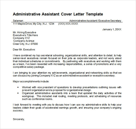 Administrative Assistant Cover Letter Template Doc