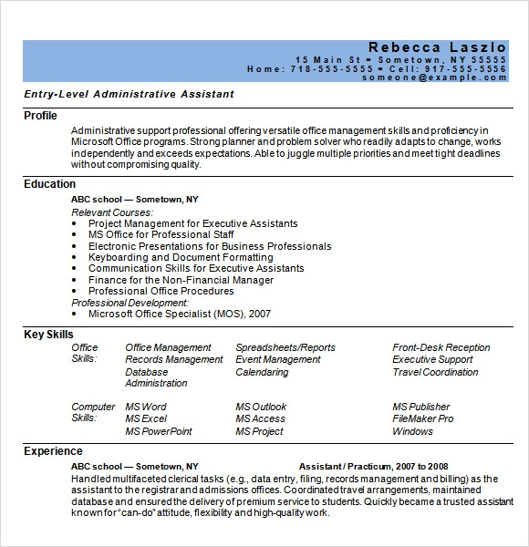 Administrative Assistant Resume 8 Download Free