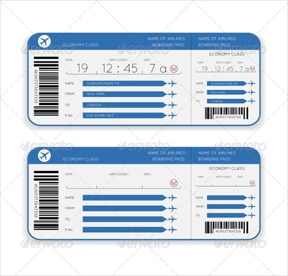 Boarding pass template 9 download documents in pdf for Pretend plane ticket template