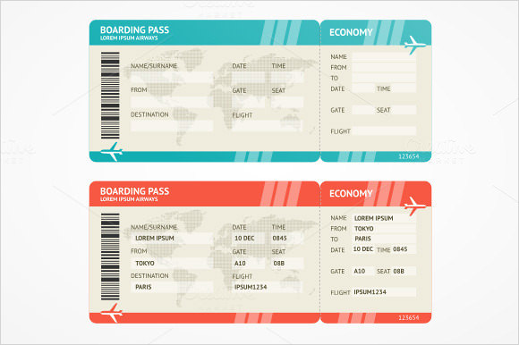 airline ticket templates