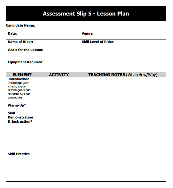 assessment slip template