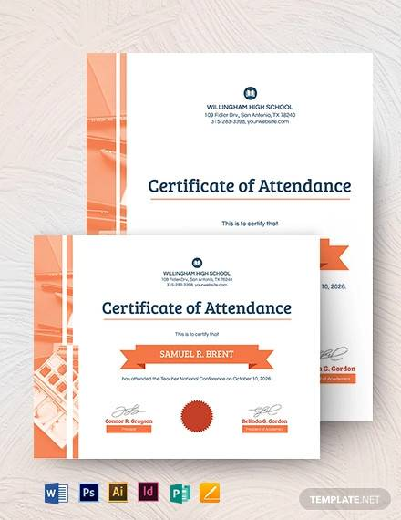 attendance certificate template for teachers