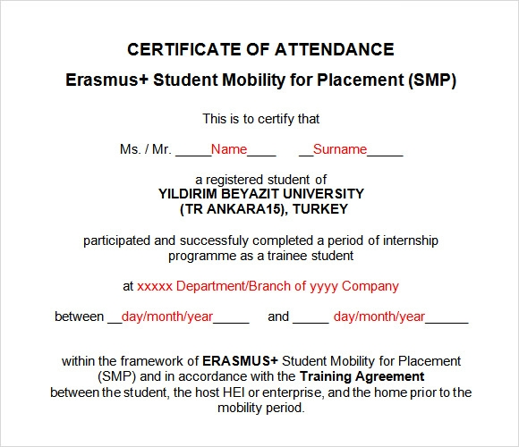 template for certificate of attendance