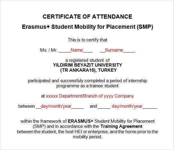9  attendance certificate templates