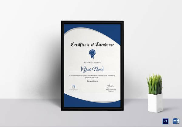 attendance certificate template in ms word