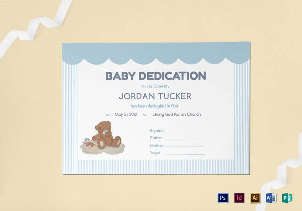 Baby Dedication Certificate Template In PSD  Baby Dedication Certificates Templates