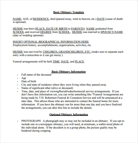 template for writing an obituary - 11 death notice samples sample templates