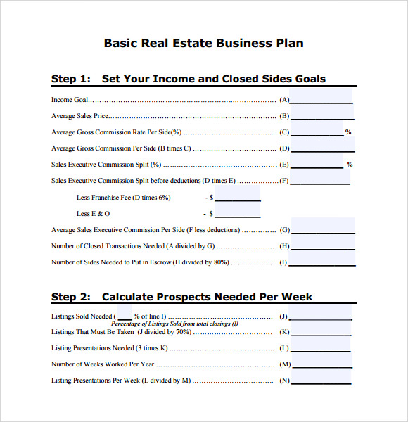 basic real estate business plan template