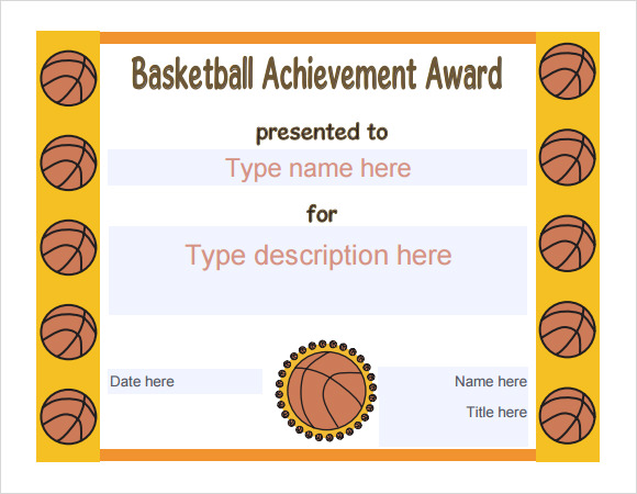 basketball award template download