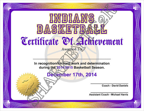 9 Sample Basketball Certificate Templates to Download ...