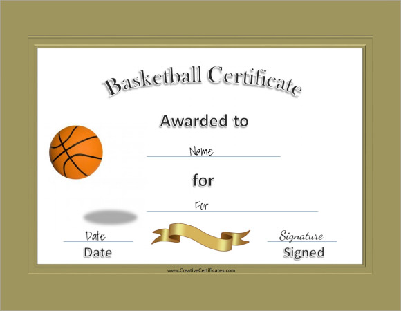 Basketball Certificate Template Free  Downloadable Certificate Template