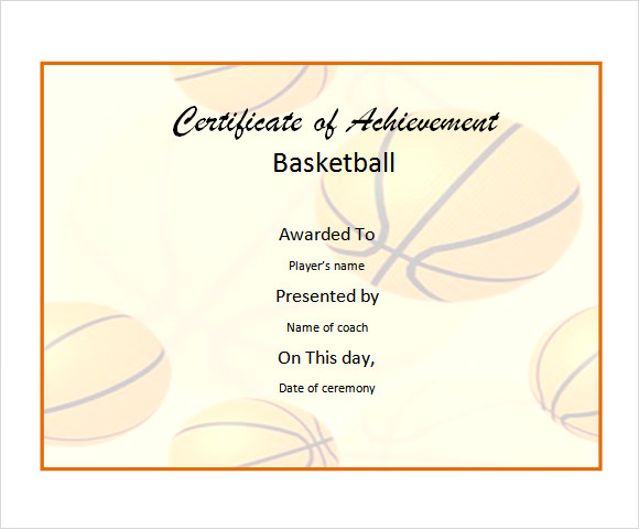 Basketball Certificate Templates  Download Free Documents In