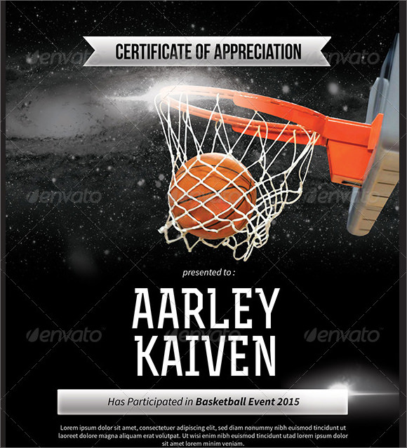 basketball mvp certificate template - 9 sample basketball certificate templates to download