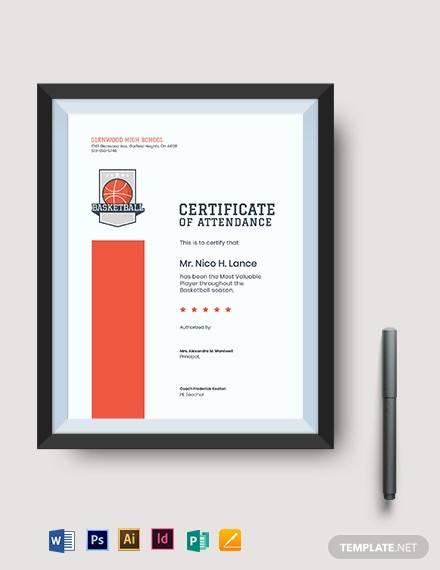 basketball mvp certificate template