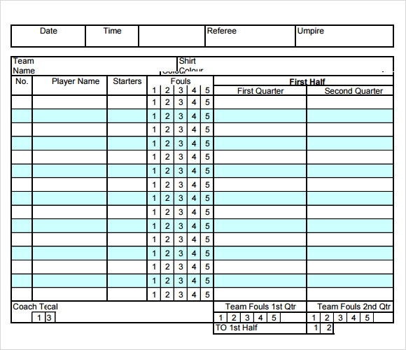 Sample Basketball Score Sheet Documents In Pdf Word Excel