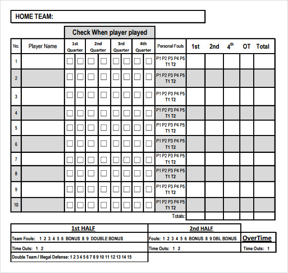 score sheet template excel