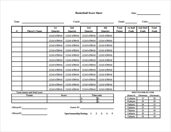 Sample Basketball Score Sheet 9 Documents In Pdf Word Excel
