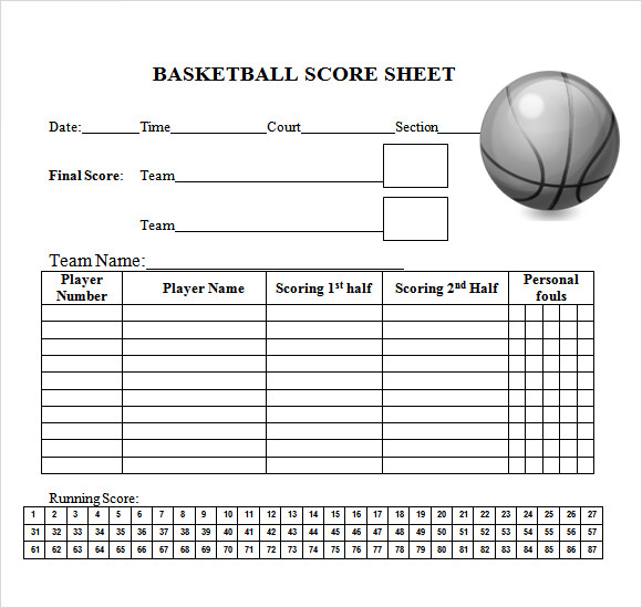 10 sample basketball score sheets sample templates. Black Bedroom Furniture Sets. Home Design Ideas
