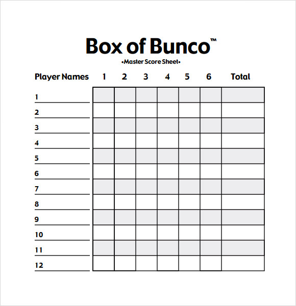 bunco 80s printable score sheet